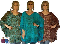 Bali Batik Boho Poncho Top - NOW SIZES UP TO 7X - Ruffled Trim LotusTraders Q699