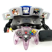Nintendo 64 Gray Console Bundle Lot w/ 5 Games Controller New Tight Stick Tested