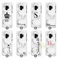 Personalised Marble Phone Case Cover for Samsung Galaxy Initial Text Name 069