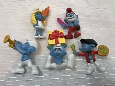 "Lot Of 5 Piece Smurf's 3"" Figures Toys + Little Gift"