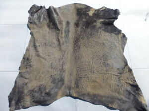 Hair On Calfskin leather hide Dry Lake bed Cracked Mud Print Exotic & Rare!