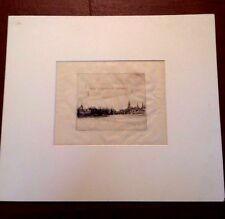 "Seymour Haden Signed Original Etching ""Hic Terminus Haeret "" The end is near"