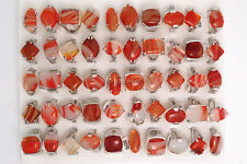 Wholesale lOTS 10Pcs Mixed Red Natural Agate Gemstone Silver P Rings FREE