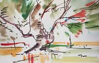 JOSE TRUJILLO ORIGINAL Watercolor Painting Expressionism 6x9 TREE WOODS NEW WORK