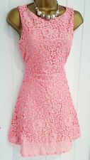 WALLIS size 10 petite pink floral summer holiday occasion fit&flare dress M