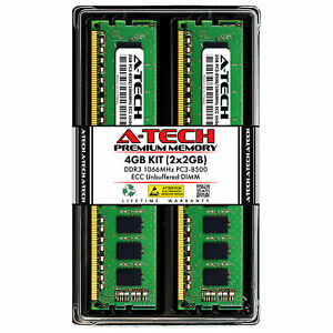 4GB 2x 2GB PC3-8500E ECC Unbuffered DDR3 1066 MHz 240-Pin DIMM Server Memory RAM