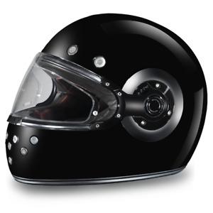 Daytona Vintage RETRO Motorcycle Helmet DULL BLACK & CHROME ACCENTS