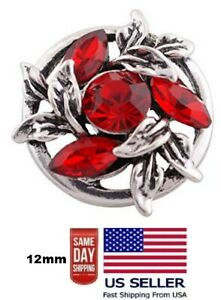 Snap Jewelry Red Marquise Rhinestone Flower 18-20mm Fits Ginger Style Charms