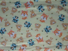 FOX BEES FOXES BEARS RACOONS YELLOW COTTON FABRIC BTHY