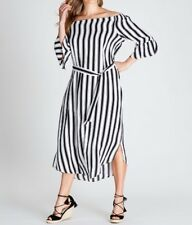 Crossroads Off The Shoulder Maxi Dress- Black & White Stripe Size 16 Free Post