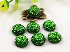10 pcs 12mm  Green  Color Flat Back Resin Cabochons Cameo -  Green