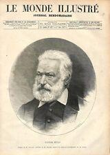 Portrait de Victor Hugo Dessin de Bocourt & Chapon Photo de Carjat GRAVURE 1877