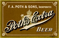 New listing Pre-Prohibition Poth's Extra Beer Bottle Label F.A Poth & Sons - Phiadelphia Pa