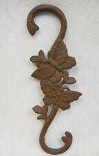 "Garden Plant Hanger Cast Iron Butterfly Motif  Dark Brown Metal ""S"" Hook  12"""