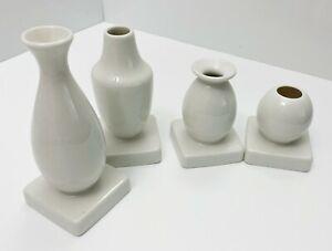 Ikea KRINGGA Decorative Ceramic Vase Set of 4, White - RARE NEW