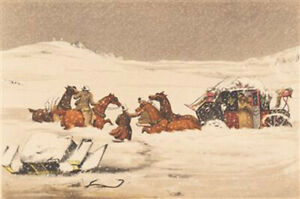 Coaching Scene in the Snow Christmas Cards pack of 10 MUS05X