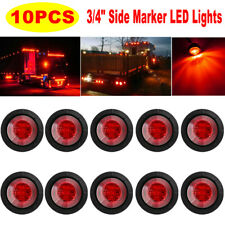 "10Pcs 3/4"" Red LED Mini Round Truck Car Side Clearance Marker Bullet Light"
