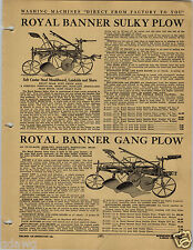 1920 PAPER AD Royal Banner Sulky Plow Gang Imperial Brush Larimer Tile Ditch