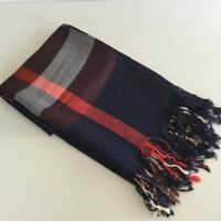"Ladies Ombre Checked (""Burberry Look"") Tartan Print Navy Blue Pashmina Scarf New"