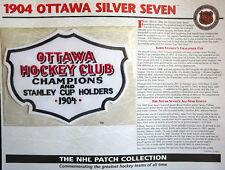 Willabee Ward Nhl Throwback Hockey Patch & Info Card ~ 1904 Ottawa Silver Seven