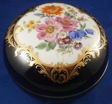 Nice Large Meissen Porcelain Cobalt Blue Ground & Gilt Floral Box Porzellan Dose