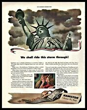 1942 WWII HAMILTON Men's Ladies Watch AD Stature of Liberty Patriotic Home Front