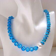 Versilberte Modeschmuck-Halsketten & -Anhänger im Collier-Stil aus Perlen