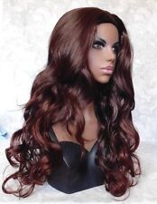 Long Wavy Dark Brown Auburn Skin Top, no Part, no Bangs Full Synthetic Wig - #67