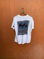 vintage single stitch t shirt Billabong White Beach Skate Surf Waves Xl Men's