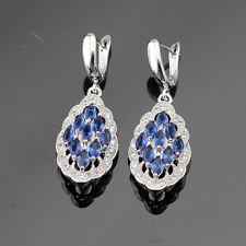 Madagascar Blue Sapphire & White Topaz Gemstone 925 Silver Earrings + gift box