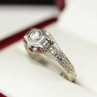 1950s Vintage Diamond engagement ring, in 14ct and 18ct white gold hexagonal set