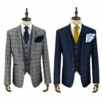 Mens Cavani Check 3 Piece Suit Blazer Waistcoat Trousers Sold Separately