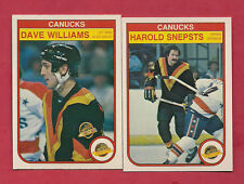 1982-83 OPC CANUCKS DAVE TIGER WILLIAMS + HAROLD SNEPSTS  CARD