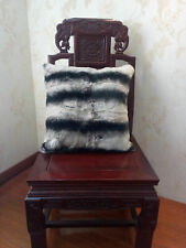 Real Rex Rabbit Fur Grey Black White Striped Pillow & Real Fur Throw Suede