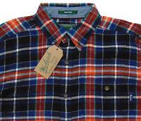 Men's WOOLRICH Black Orange Colors Plaid Flannel Cotton Shirt Large L NWT NEW