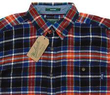 Men's WOOLRICH Black Orange Colors Plaid Flannel Cotton Shirt XXL 2XL NWT NEW