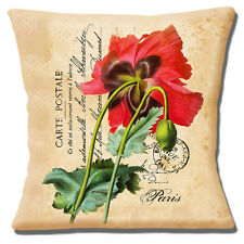"FRENCH SHABBY CHIC VINTAGE RED POPPIES CARTE POSTALE 16"" Pillow Cushion Cover"