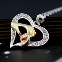 SILVER & GOLD PLATED MOTHER'S PALM HEART 'Necklace Pendant GIFT