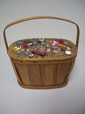 MEMORY ART Assemblage/Found Object  Outsider  Folk Art Treasure Handle Basket