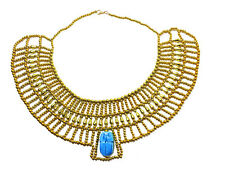 Egyptian Hand Made Multi Beaded Cleopatra  Scarab Necklace Collar Christmas 234