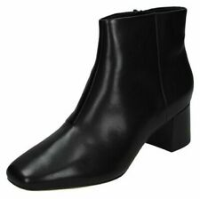 Ladies Clarks Casual Heeled Ankle Boots Sheer Flora