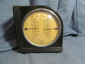 Vintage Art Deco Bakelite Ward Thermometer and Barometer Weather Station