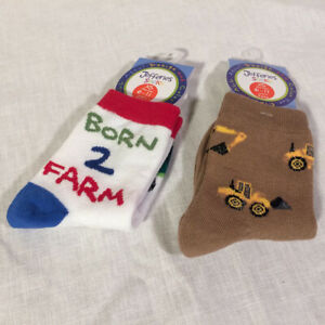 """TWO pair boys size 6-11 socks, """"Born to Farm"""" and tan with """"yellow diggers""""--NEW"""