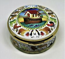Staffordshire English Enamel Box - Noah'S Ark At Sea -Animals Two By Two- Bible