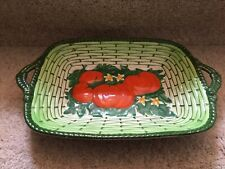 Royal Winton Grimwades 1930'sbasketweave double handled dish red tomato pattern