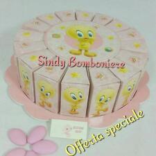 Torta bomboniera 16 fette rosa Tweety Titti Twitty nascita battesimo bimba