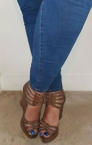 ladies used brown strappy wedge heels UK 7 worn but in good condition