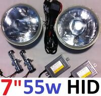 "HID Hi/Lo 7"" round lights to suit Toyota Landcruiser 75 78 79 HZJ75 series"