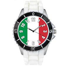 Italy Italian Republic Flag White Jelly Silicone Mens Womens Wrist Watch SEW439