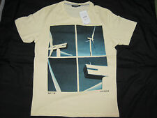 60% OFF €15.99 Bnew Auth Medium PULL & BEAR Men Print T-shirt Cream 100% Cotton